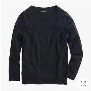 J.Crew• Tippi Crewneck Black 3/4 Sleeve Pullover